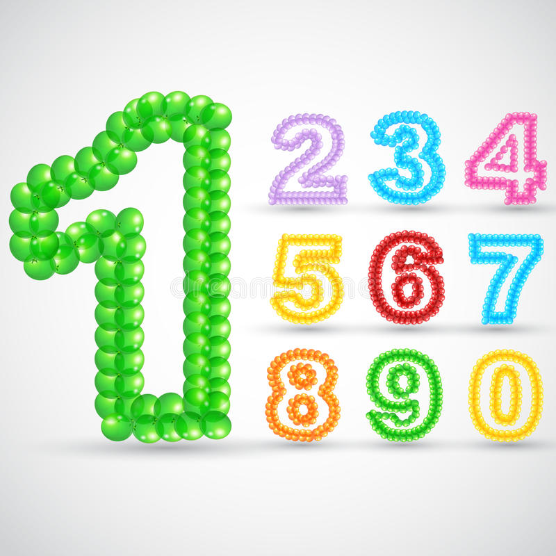 Colorful Balloon Number Set vector illustration