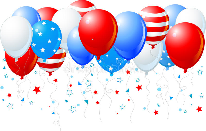 Colorful balloons of 4 of July flying up. Illustration of the bunch of colorful balloons of 4 of July flying up vector illustration