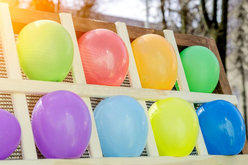 Colorful Balloons As Targets. Wall Of Multicolor Balloons With Some Popped, Carnival Game royalty free stock photos