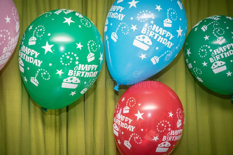 Happy Birthday balloons. Colorful balloons backdrop for a Happy Birthday event stock photo