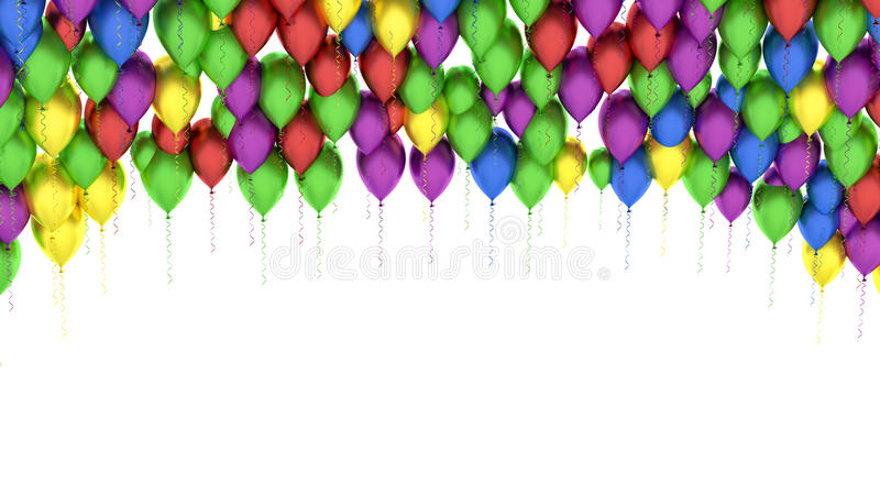 Colorful balloons background isolated on white royalty free illustration