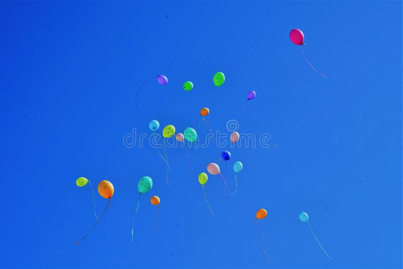 Colorful balloons in the blue sky royalty free stock images