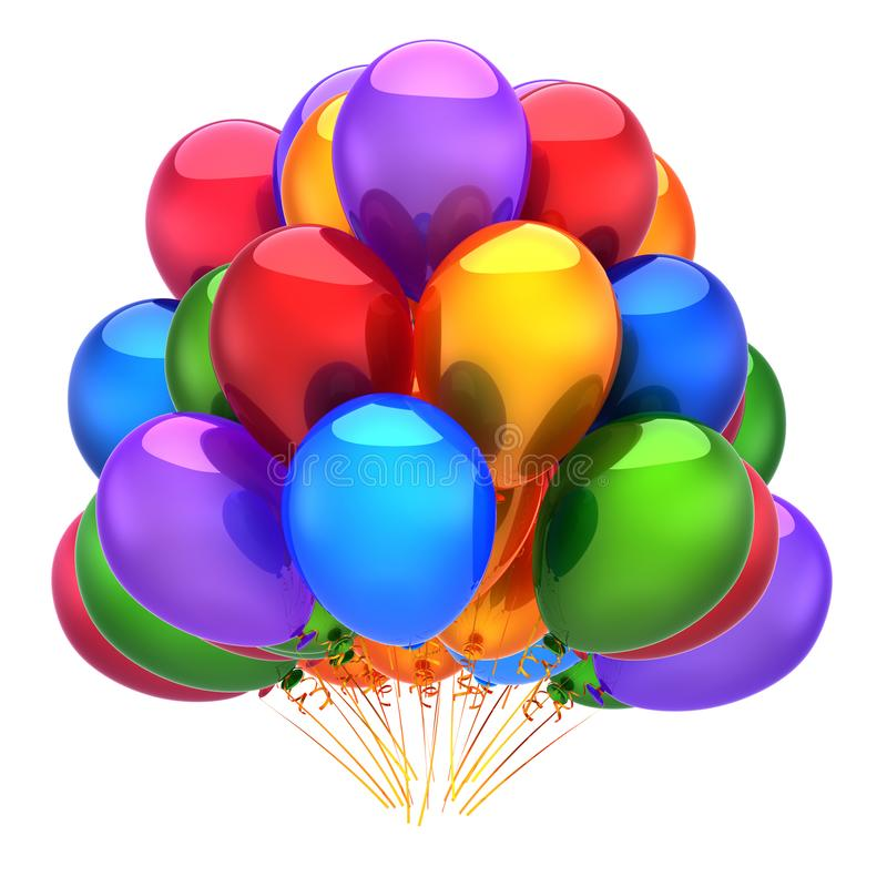 Colorful balloons bunch birthday carnival party decoration multicolored stock illustration