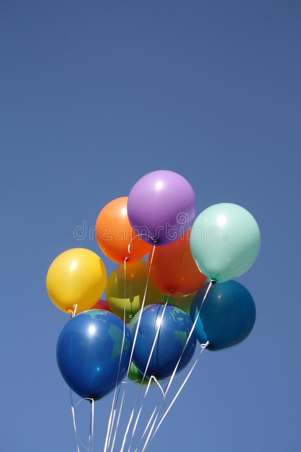 Download Colorful Balloons In A Clear Blue Sky Stock Photo - Image: 19132062
