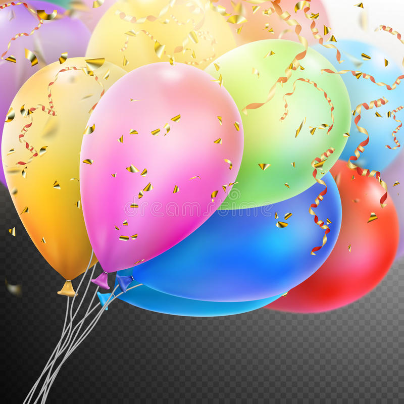 Colorful Balloons with confetti. EPS 10 royalty free illustration