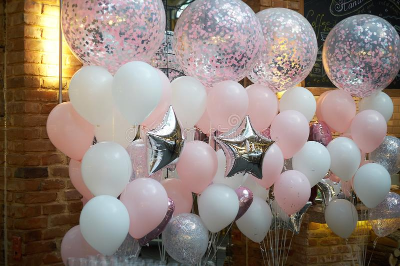 Colorful balloons decoration in a restaurant royalty free stock photo