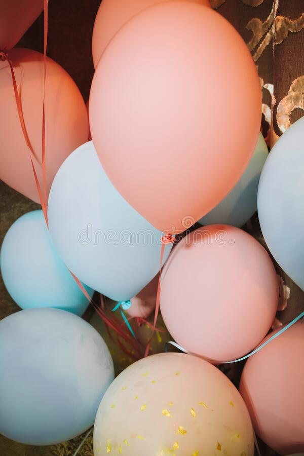 Colorful balloons done with a retro instagram filter effect. Concept of happy birth day in summer and wedding, honeymoon party use stock image