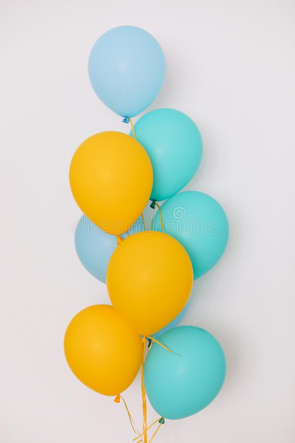 Colorful balloons. Festive or party background. Birthday greeting card. Concept of happiness, joy, birthday. Copy Space stock photo