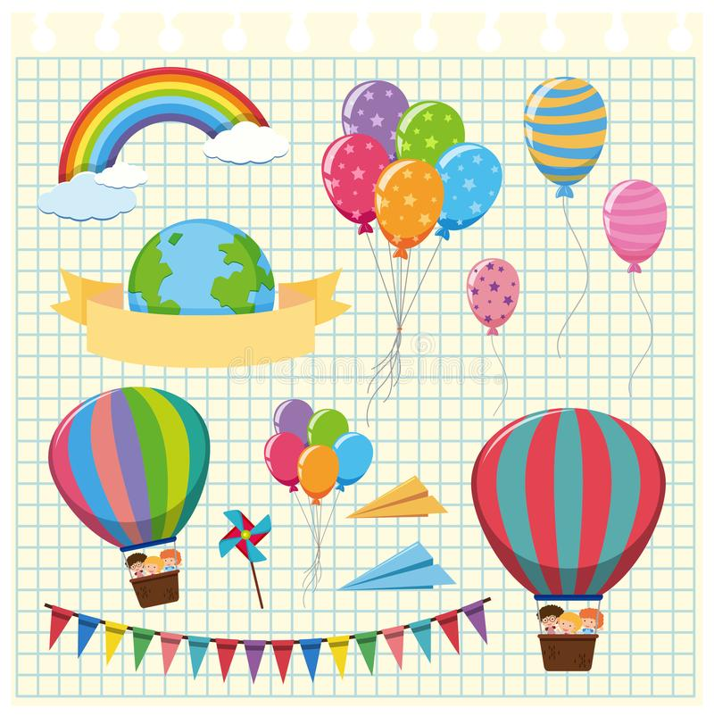 Colorful balloons and flags on grid background royalty free illustration