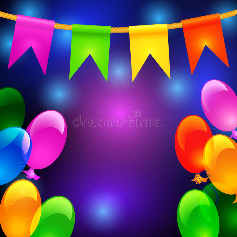 Colorful balloons and flags vector illustration