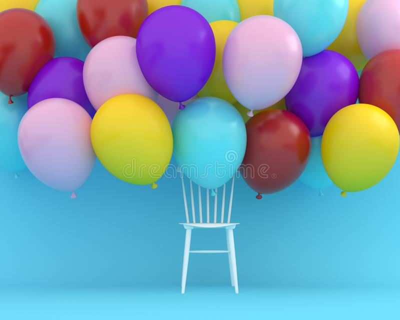 Colorful balloons floating with white chair on blue color background. Creative layout made for festival like birthday or stock image