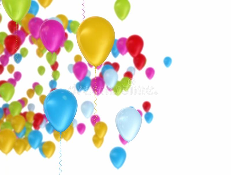 Colorful balloons flying over white background royalty free illustration