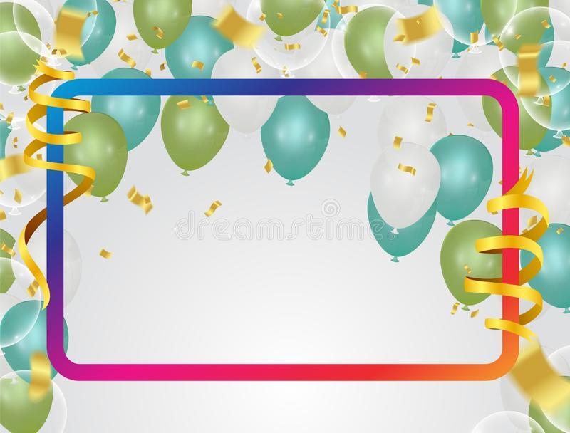 Colorful balloons  holiday illustration white transparent with confetti balloons Party decorations for birthday stock illustration