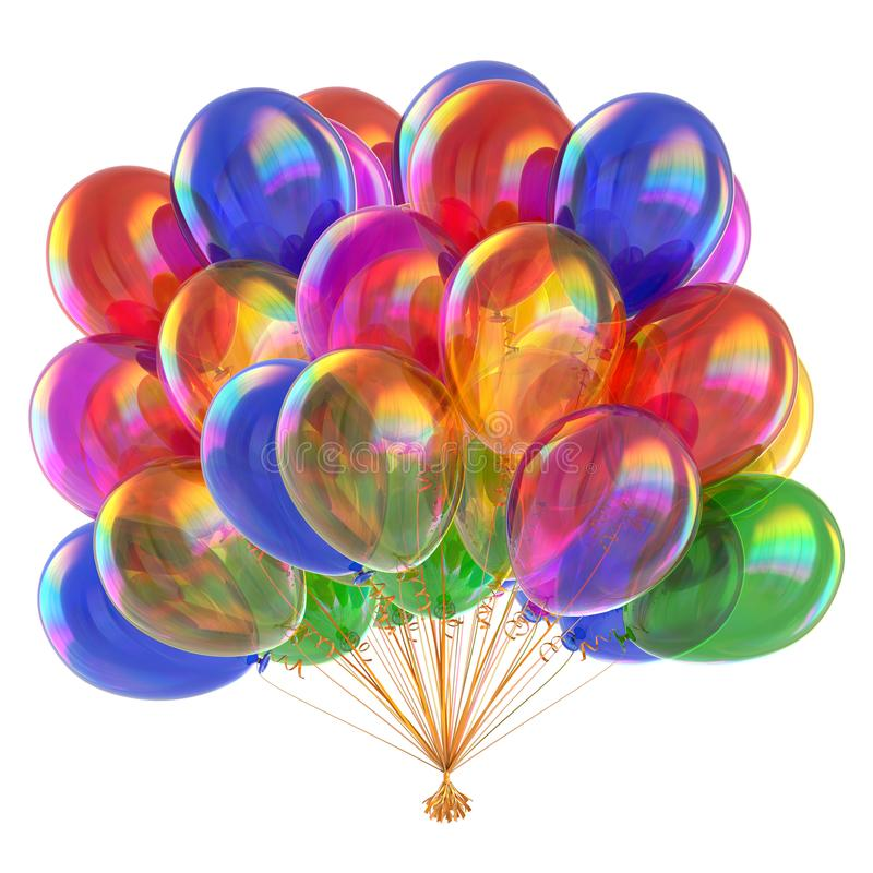 Colorful balloons multicolor glossy balloon bunch vector illustration