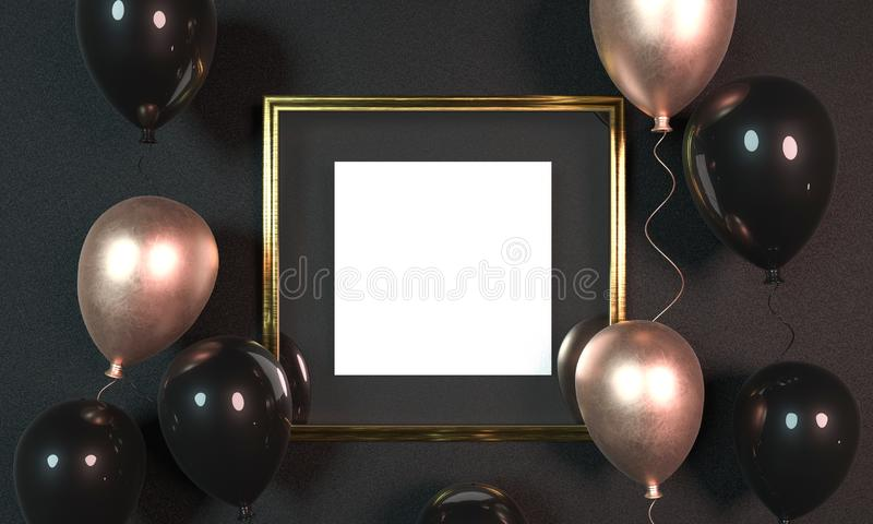 Colorful balloons next to golden picture frame in front of wall. 3D Rendering. Mock up golden picture frame. Party banner design stock photo