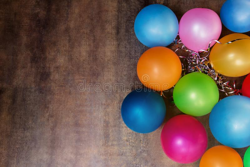 Colorful Balloons over the Wall, Celebration Festive Party Background, Plenty Space for Text royalty free stock photos