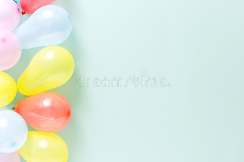 Colorful balloons Pattern decoration party copy space flat lay t royalty free stock photos