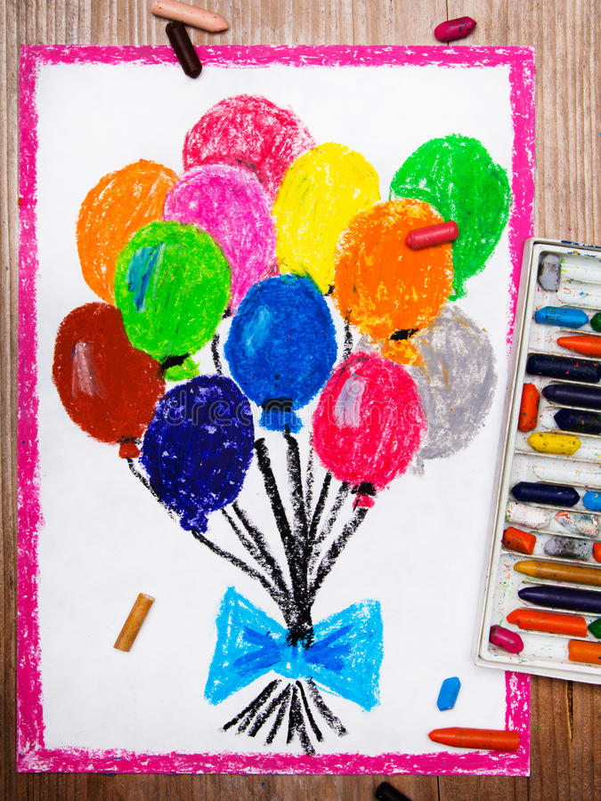Colorful balloons. Photo of a colorful drawings: colorful balloons stock illustration