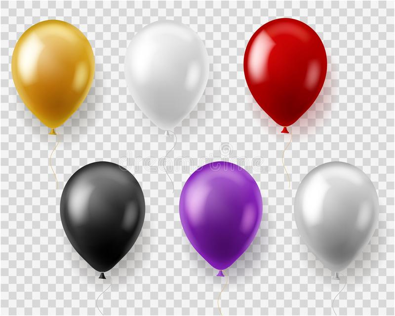 Colorful balloons set. Round balloon flying toys gift celebration birthday party wedding carnival, realistic vector stock illustration