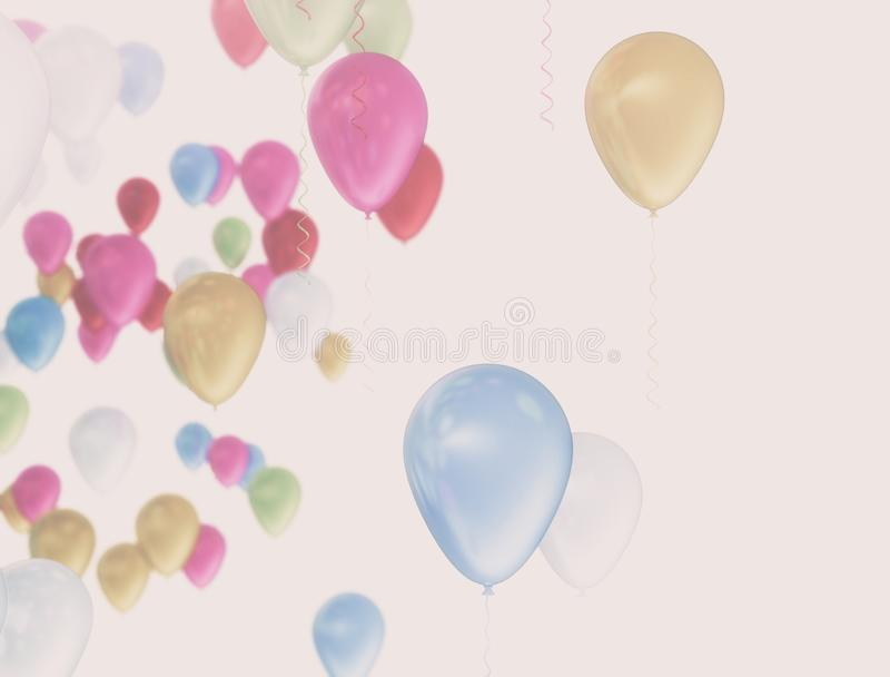 Colorful balloons in summer holidays. vector illustration