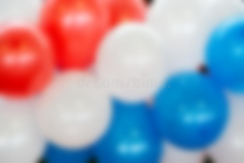 Colorful balloons White red blue balls in blur. Texture. Multicolored balloons White red blue balls in blur. Texture royalty free stock images