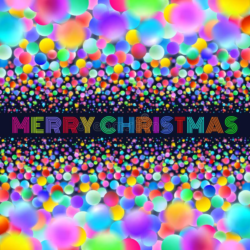 Holographic Merry Christmas card with neon balls stock illustration