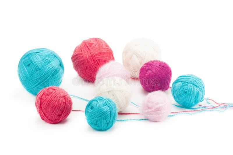 Colorful balls of yarn royalty free stock photo