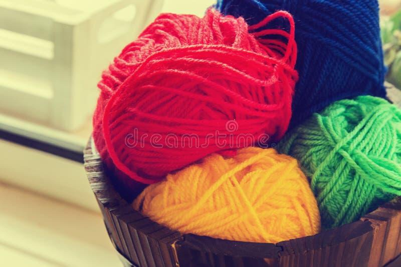 Colorful balls of yarn royalty free stock photos