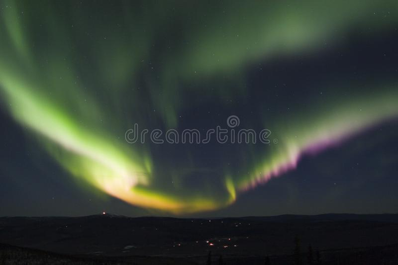 Colorful band of aurora borealis royalty free stock photo