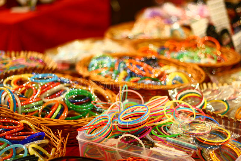 Colorful Bangles from India on Retail Market. Colorful Bangles from India on retail sale in a shopping mall royalty free stock photography