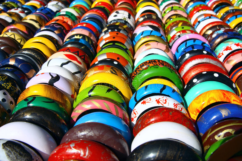 Colorful bangles in lines royalty free stock photos
