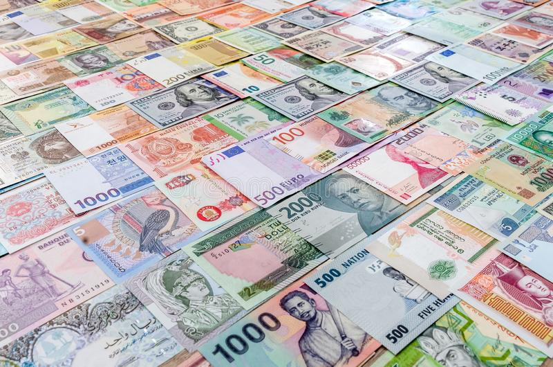 Colorful banknote collection for background, close up.  stock image