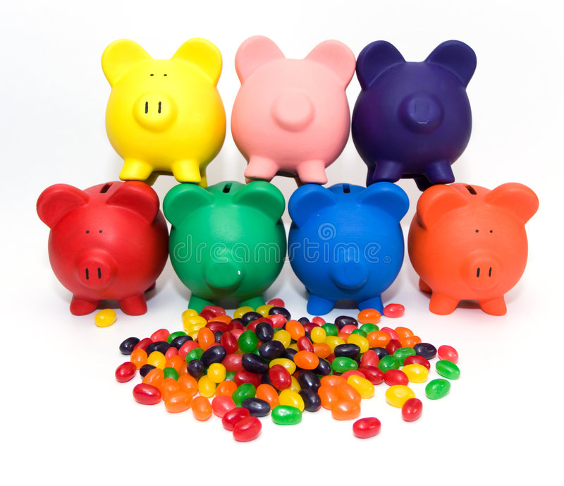 Colorful Banks and Beans stock image