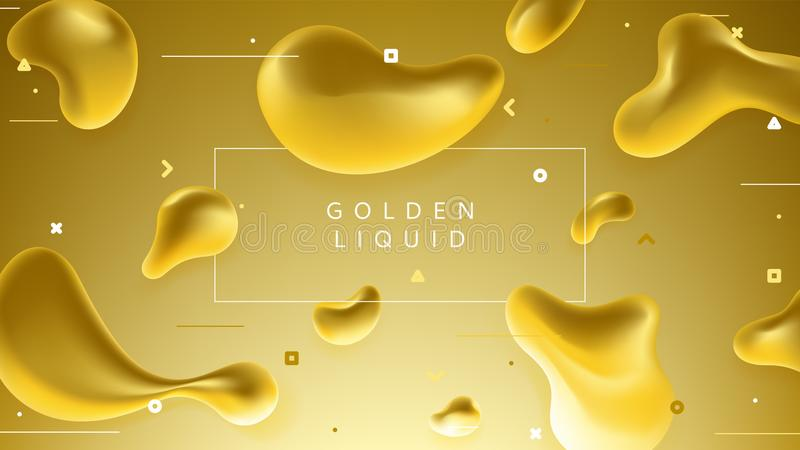 Colorful banner with abstract golden liquid shapes stock illustration