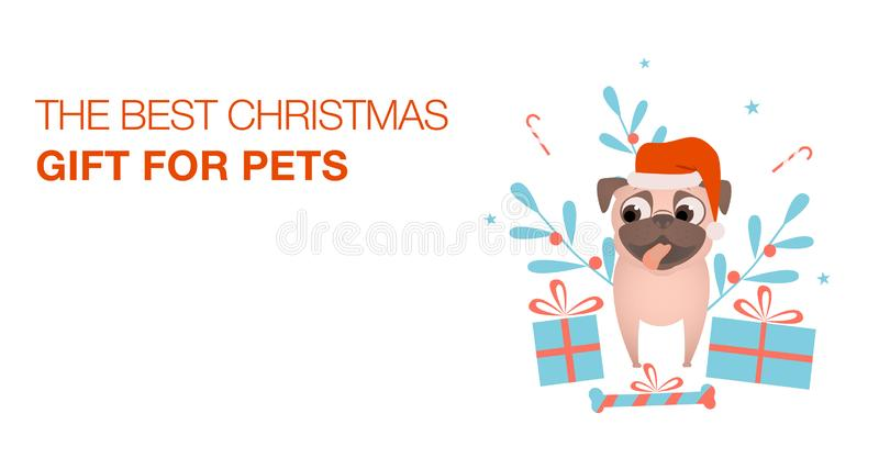 Colorful banner with dog in Santa hat, decorations and christmas presents for pet. Congratulation Happy New Year and Merry stock illustration