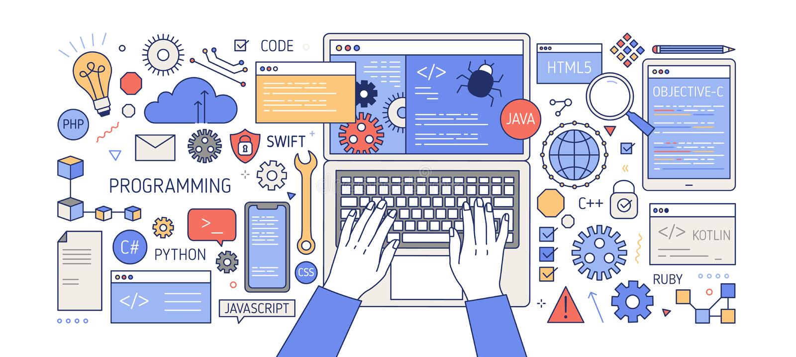 Colorful banner with hands working on computer, different electronic gadgets, devices and symbols. Programming, software. Development, program coding. Creative stock illustration