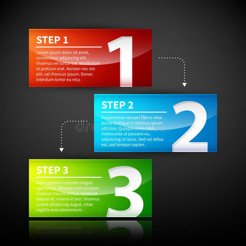 3 colorful banners, numbered from one to three. Arrows from one to the other show their relationship vector illustration