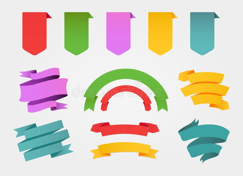 Colorful banners and ribbons set. The Colorful banners and ribbons set royalty free illustration