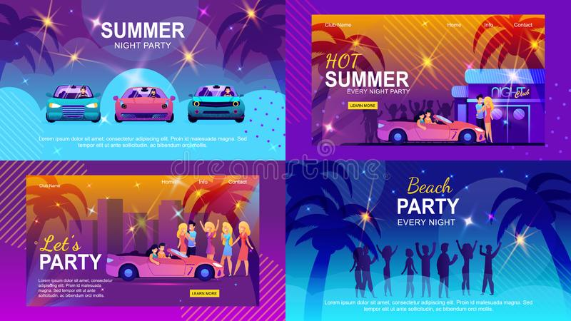 Colorful Banners Set Inviting to Summer Adventure vector illustration