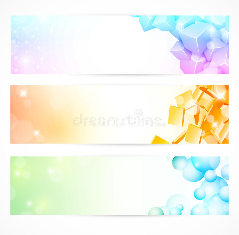 Colorful banners set stock illustration