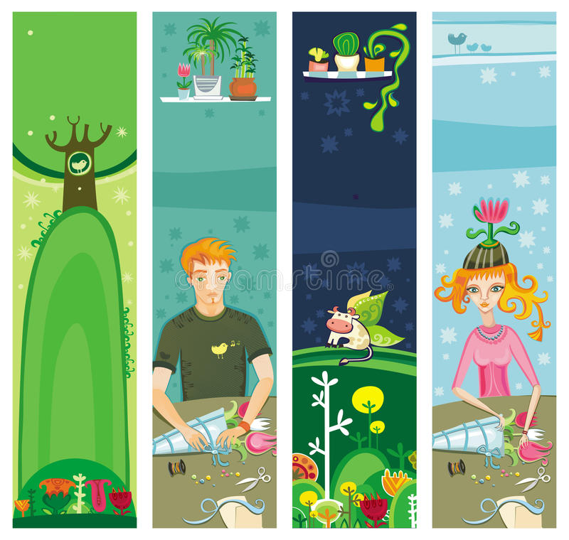 Colorful Banners for summer with copyspace royalty free illustration