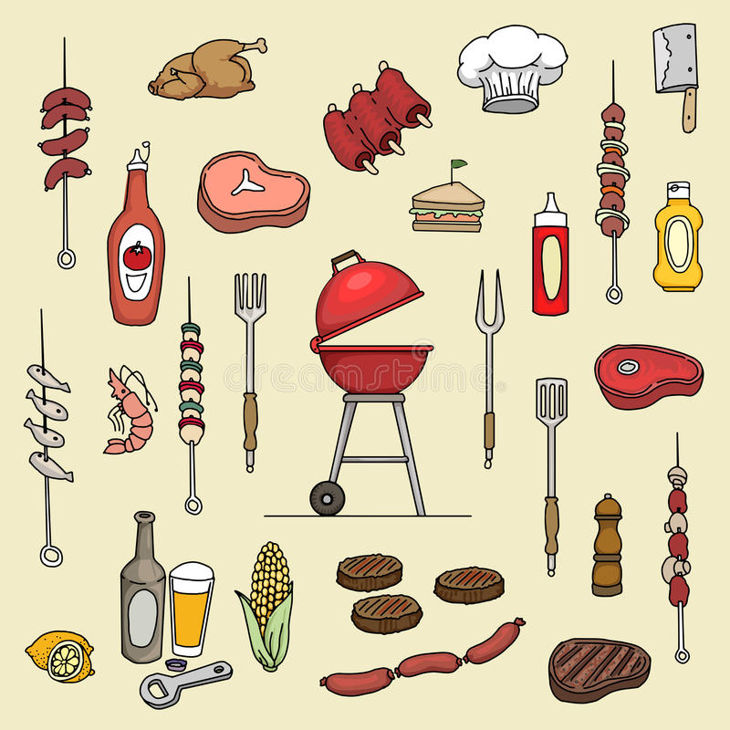 Colorful barbecue items stock illustration