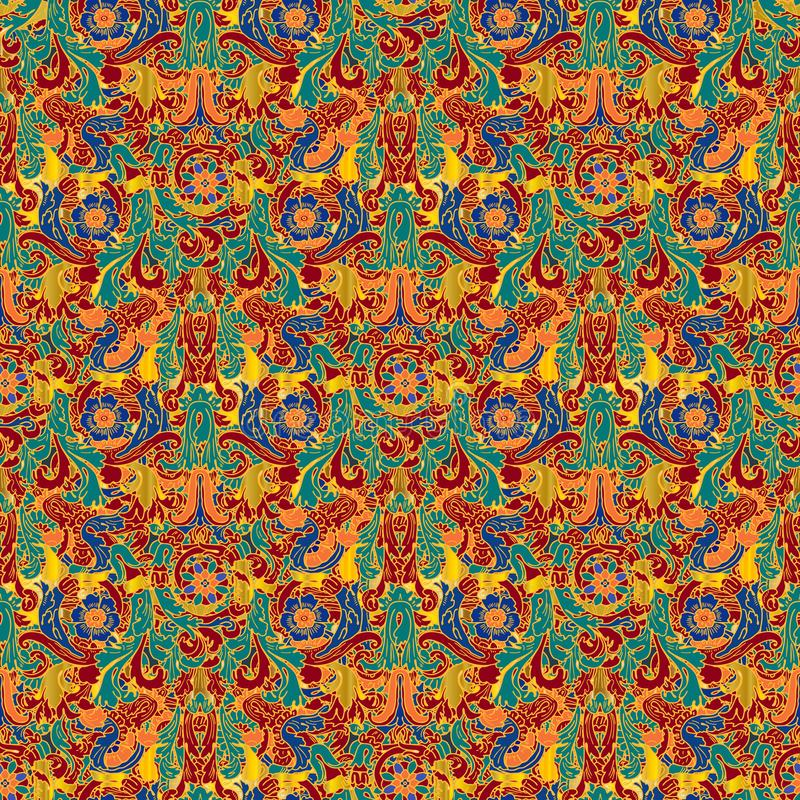 Colorful Baroque seamless pattern. Greek style ornamental meanders background. Vintage floral patterned repeat backdrop stock illustration