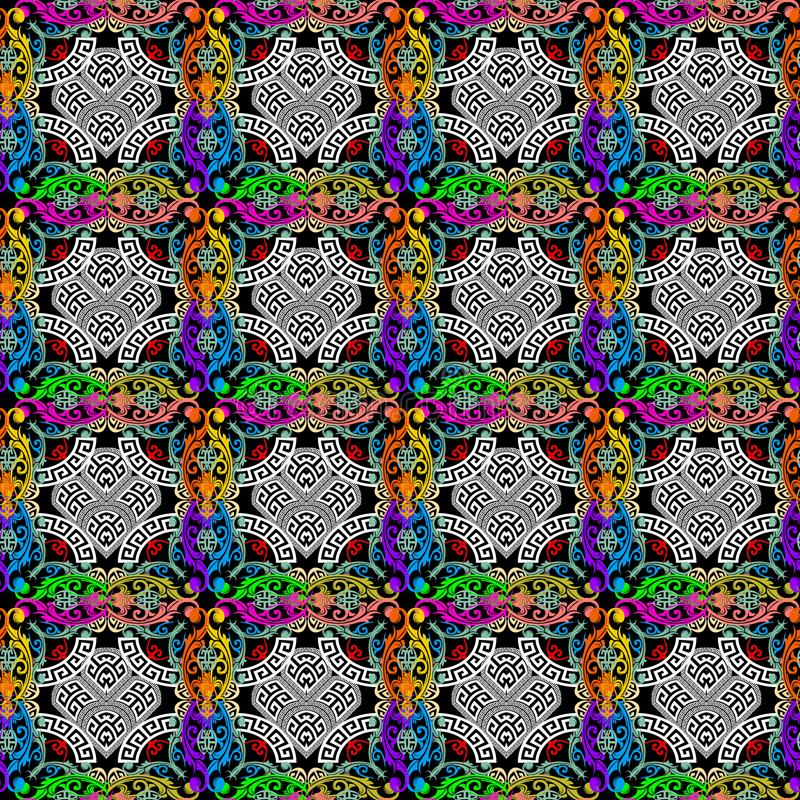 Colorful Baroque style greek vector seamless pattern. Checkered ornamental plaid background. Bright baroque flowers, leaves. royalty free illustration