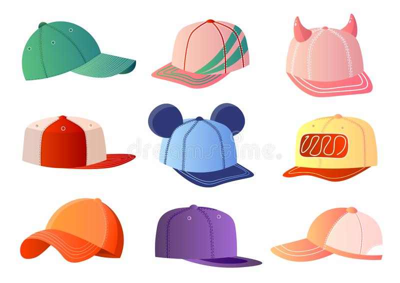 Colorful baseball caps set isolated on white background. Colorful realistic baseball caps set different shapes and decor isolated on white background. Sportwear vector illustration