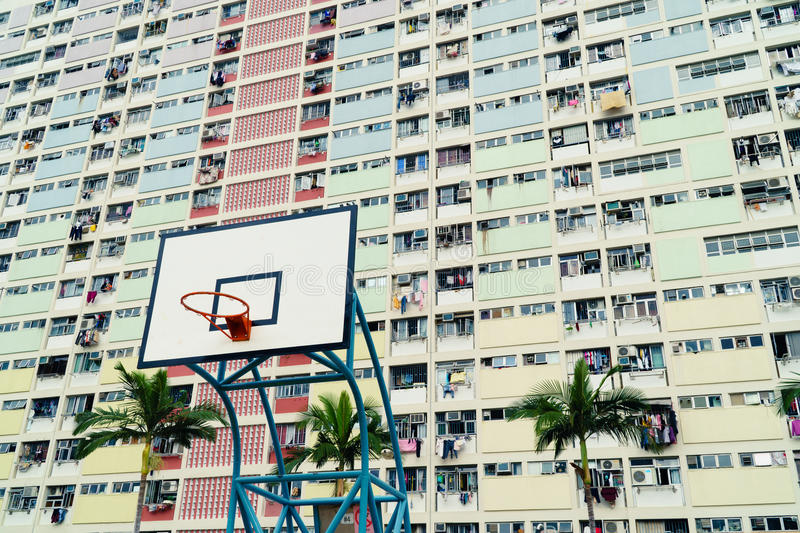 Colorful basketball court in Hong Kong royalty free stock image