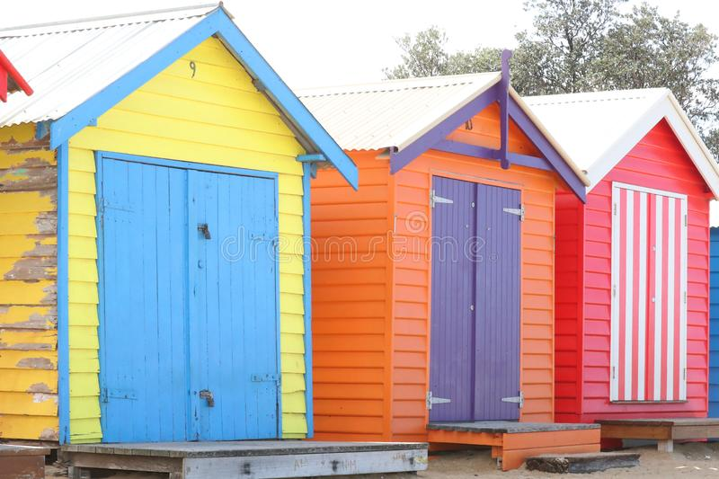 Colorful Bathing Boxes in Brighton Beach, Melbourne,  Australia. Colorful Bathing Boxes in Brighton Beach, Melbourne, Australia royalty free stock photos
