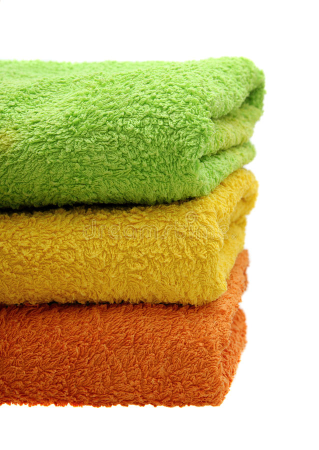 Colorful bathroom towels stock images