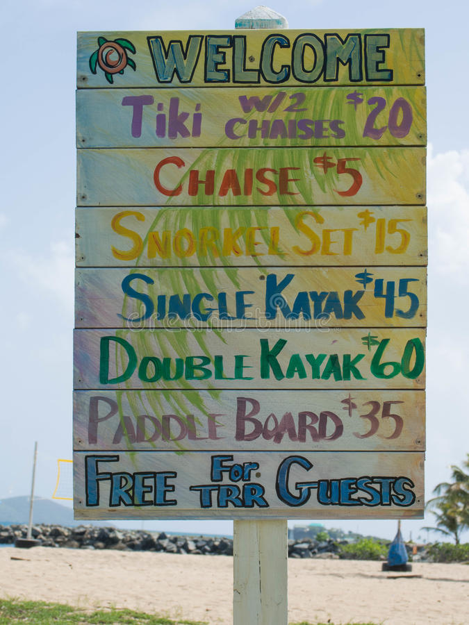 Colorful Beach Activities Price List. At a Resort in St. Croix, U.S. Virgin Islands royalty free stock images