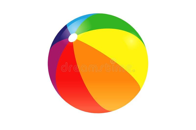 Colorful beach ball on white background. Illustration design stock photos
